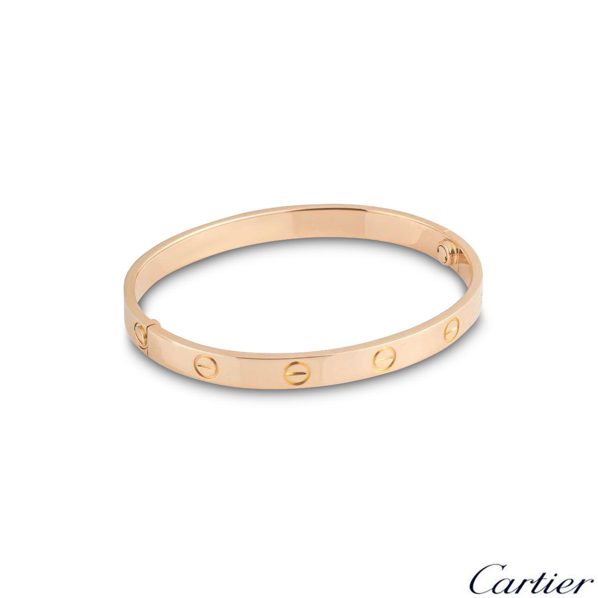 Cartier Rose Gold Plain Love Bracelet Size 18 B6095618
